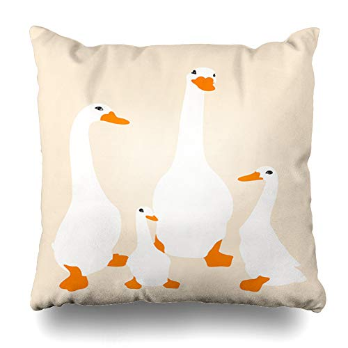 (Ahawoso Throw Pillow Cover Pillowcase Family Yellow Baby Duck Beak Duckling Bird Childhood Cute Design Zippered Square Size 20 x 20 Inches Home Decor Cushion Case)