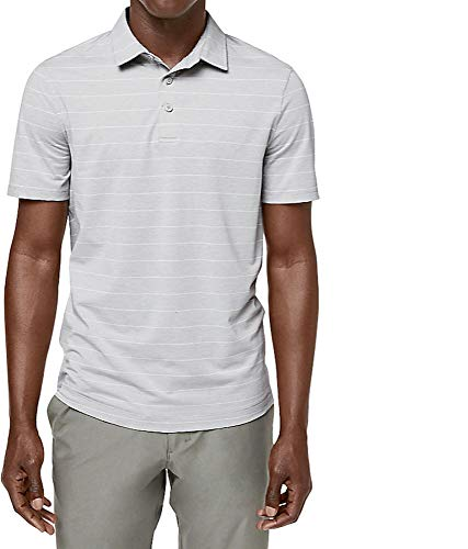 Price comparison product image Lululemon Mens Evolution Polo Short Sleeve Shirt (Lookout Stripe Heathered Nimbus,  M)