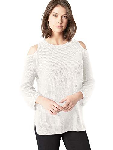 525 America Cotton Sweater - 525 America Women's Cotton Shaker Cold Shoulder Pullover Sweater, Winter White Melange Medium