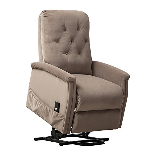 Cheap BONZY Power Lift Recliner Chair for Elderly Living Room Chair Sofa Seat with Remote Control Pocket -Mocha