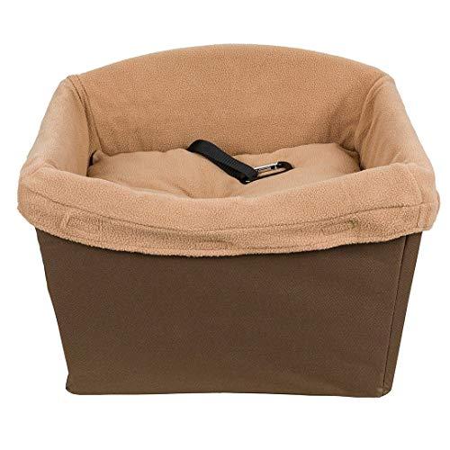 PetSafe Asiento de seguridad para perros Happy Ride - Adecuado para automóviles, vehículos grandes y 4x4 - Incluye cinturón de seguridad - Forro polar resistente lavable a máquina, marron