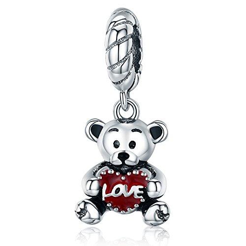 (MallDou Jewelry Love Heart Animal Charm Red Enamel Bear Dangle Charms fit Pandora Bracelet Necklaces Birthday Gifts)