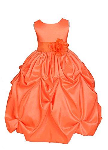 Wedding Pageant Orange Bubble Pick-up Taffeta Flower Girl Dress Holiday 301s 10