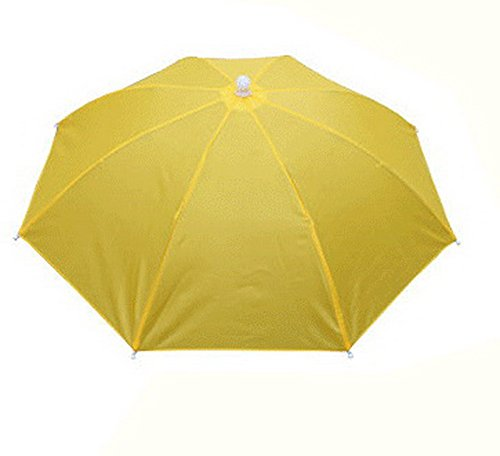 Yellow Umbrella Hat Headwear for Fishing Sun Rain