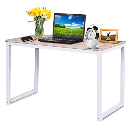 Tangkula Writing Desk, Computer Table, Wood Compact Home Office Desk, Computer Laptop Workstation, Study Writing Desk Rectangular Table, Home Office Desk Wood