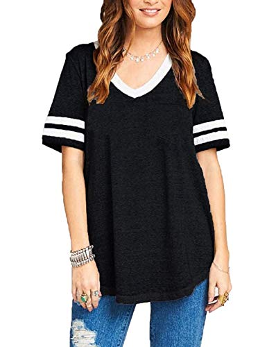 (Sweetnight Womens Short Sleeve Football Tee Summer Loose Tops Striped T-Shirts V Neck Blouses with Pockets (Small,)