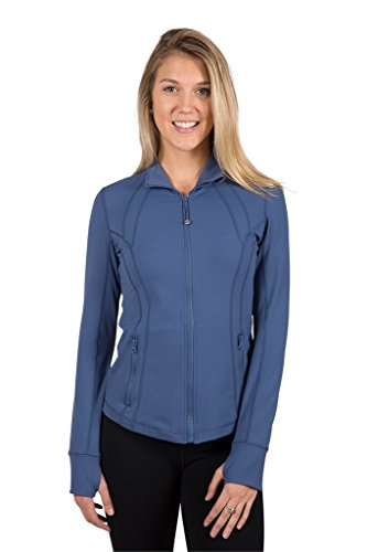 90 Degree By Reflex Womens Full Zip Jacket - Iron Blue - - Blue Track Womens Jacket