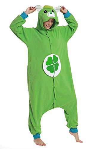 Flora Huxley Women Adult Onesies Cosplay Pajamas One Piece Animal Green Bear Costumes S ()