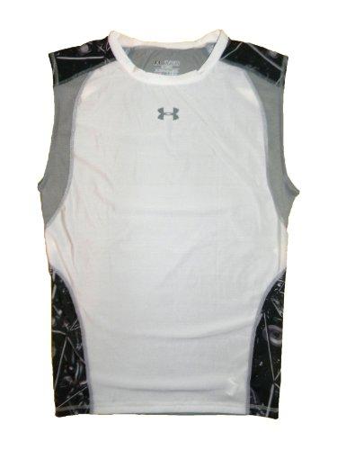Under Armour hombres compresión manga menos camiseta blanco gris 1239055poliéster