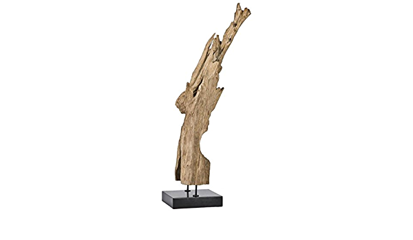 Amazon Com Moe S Home Collection Natural Teak Wood Sculpture On Black Marble Stand Medium Home Kitchen