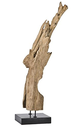 Moe's Home Collection Natural Teak Wood Sculpture on Black Marble Stand, Medium