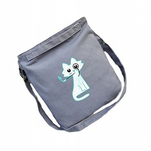 POJ Harajuku Fashion Style Canvas Shoulder Bag Cat Pattern [ Color White / Grey ] Japan Cosplay (2)