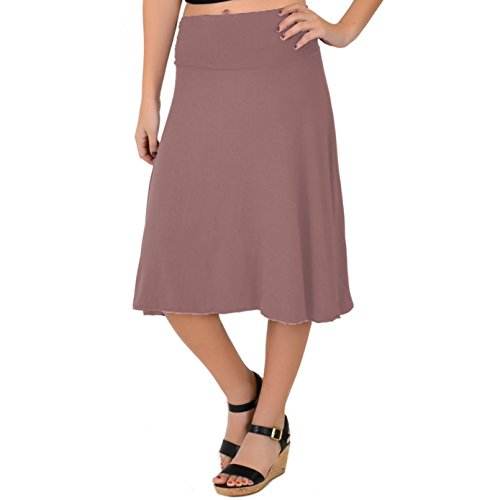 (Stretch is Comfort Women's Knee Length Flowy Skirt Mauve X-Large)