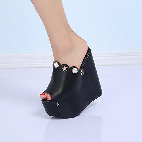 zapatos Black tacones de super cm XiaoGao 16 tacon Cuesta Blanca Ca4Yzq
