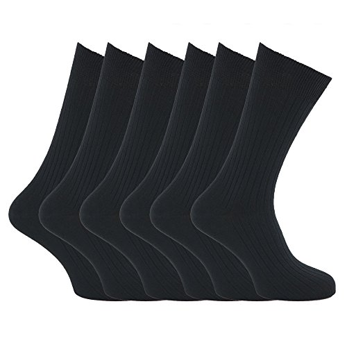 Mens XL Ribbed 100% Cotton Socks Sizes US 12 To 15 (Pack Of 6)