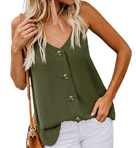 Angerella Women's Summer Button Down V Neck Strappy Tank Tops Loose Casual Sleeveless Shirts Blouses Army Green,S