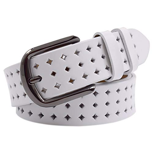 Genuine Leather Belts for Women Hollow Out Design, Vonsely Soft Leather Womens Belts with Pin Buckle, White Leather Belt