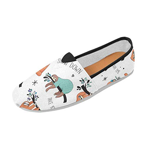 INTERESTPRINT Fashion Painted Cute Hand Drawn Sloths Slip-on Women's Casual Canvas Flat Shoes (004) (Hand Drawn Shoes)