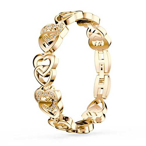 Sinwo Elegant Fashion Design Plated Colorful Crystal Drop Jewelry Bracelets Gifts For Women (Gold, Heart shape) (Bold Type)