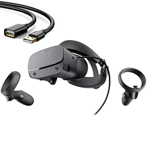Oculus - Rift S Auriculares para juegos de realidad virtual con PC - Negro - Controlador táctil, audio posicional 3D, seguimiento de visión integrado a escala de habitación, diadema Halo ajustable con rueda de ajuste - Cable de extensión USB BROAGE