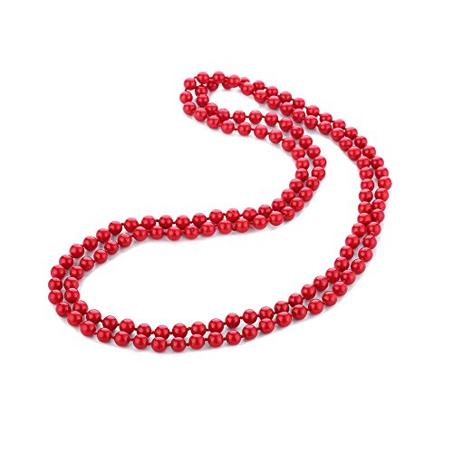 LUREME Handmade Strand Red Stone Simulated Pearl Beads Cluster Necklace for Women (Style D)