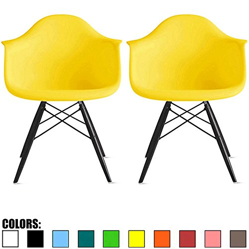 2xhome - Set of Two (2) Yellow - Eames Chair Armchair Black Wood Legs Eiffel Dining Room Chair Arm Chair Arms Chairs Seats Wooden Wood Leg Dowel Leg Legged Base Molded Plastic