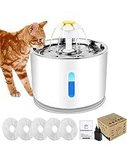 Forever Speed 2,4 l dricksfontän husdjur kattfontän halkfri automatisk katt vattendispenser med LED-nattlampa 5 aktivt kolfilter