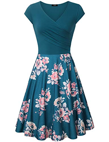 Floral Mid Lenght Dresses Women, A- Line Cap Sleeve V Neck | Women Date Night Dresses