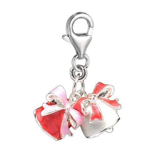 Clip on '' Christmas Bells '' Charm Pendant for European Jewelry w/Lobster Clasp for Jewelry Making Bracelet Necklace DIY Crafts