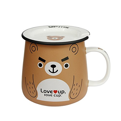UPSTYLE Cute Animal Penguin Tea Mug Funny Lovely Tea and Coffee Mug Morning Coffee Milk Ceramic Water Cup with Lid and Handle for Office home - Best Gift for friends and family,10.8OZ(320ml)(Bear) by UPSTYLE (Image #9)