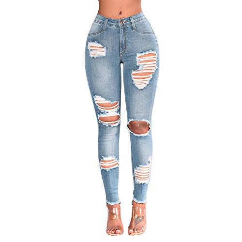 charmsamx Plus Ripped Jeans Skinny Distressed Boyfriend Mid Rise Jeans Butt Lift Slim Fit Stretch Denim Pants Casual Destoried Holes Pants for Women Junior Blue,S (Blue Jeans Skirt Made By Rave)