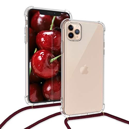 kwmobile Crossbody Case Compatible with Apple iPhone 11 Pro Max - Clear Transparent TPU Cell Phone Cover with Neck Cord Lanyard Strap - Transparent/Dark Red