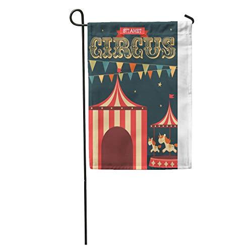 Semtomn Garden Flag Colorful Tent Vintage Circus Retro Fun Flag Classic Unicorn Carousel Home Yard Decor Barnner Outdoor Stand 28x40 Inches Flag (Retro Carousel)