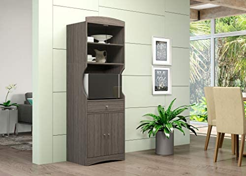 Home Source Microwave Stand with Sliding Glass Cabinet, 1 Drawer, and Double Door Lower Cabinets (Grey)