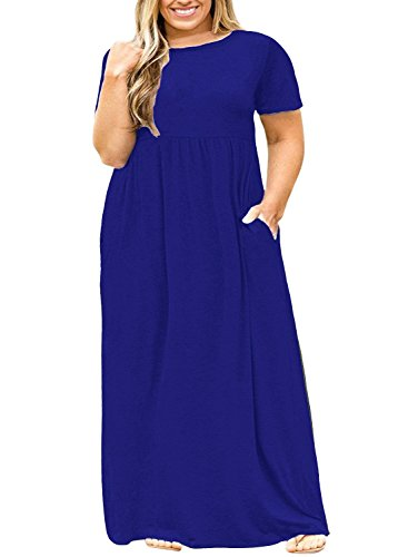 POSESHE Women Short Sleeve Loose Plain Casual Plus Size Long Maxi Dress with Pockets (4X-Large, Royal Blue)