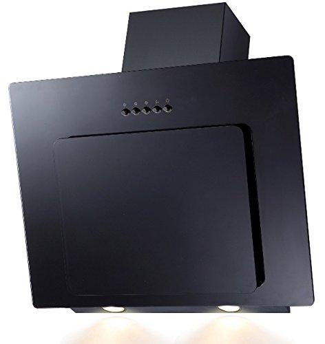 SH60de BL Cristal Negro Campana extractora borde de aspiración 60cm oblicuo Kontor-Hermsen SH60-BL