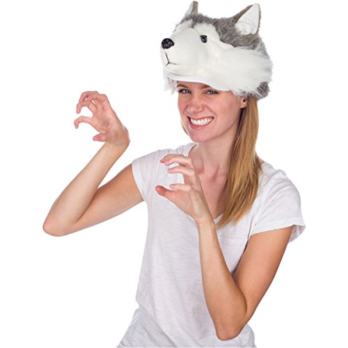 Rittle Furry Husky Dog Animal Hat, Realistic Plush Costume Headwear - One Size