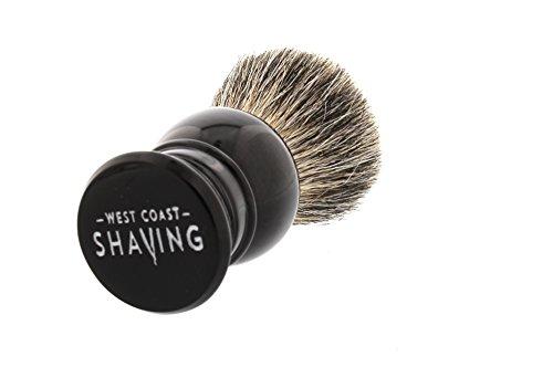 West Coast Shaving 100% Pure Badger Shaving Brush. Dense Fibers. (Black- Lantern)