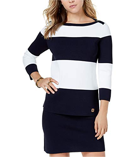 Tommy Hilfiger Women's Striped Mariner Sweater (Captain Ivory, Large)