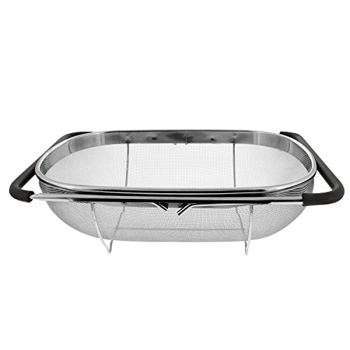 U.S. Kitchen Supply - Premium Quality Over The Sink Stainless Steel Oval Colander with Fine Mesh 6 Quart Strainer Basket & Expandable Rubber Grip Handles - Strain, Drain, Rinse Fruits, Vegetables ()