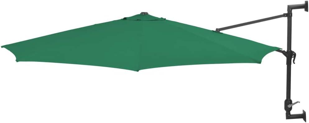 vidaXL Sombrilla Pared Barra Metal 300 cm Verde Parasol Paraguas Mueble Jardín