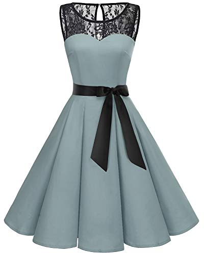 (Bbonlinedress Women's 1950s Vintage Rockabilly Swing Dress Lace Cocktail Prom Party Dress Grey 2XL )