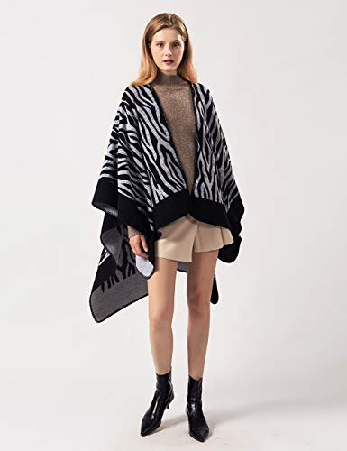 FEOYA Womens Poncho Cape Shawl Printed Tassel Open Front Cape Coat Oversized for Winter