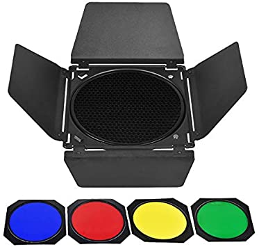 4 Color Barn Door Universal Barndoor Kit with Barn Door /& Honeycomb Grid Four-color Photographic Lamp Accessories