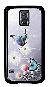 Diy Fashion Case for Samsung Galaxy S5,Black Plastic Case Shell for Samsung Galaxy S5 i9600 with Dream of the Butterfly