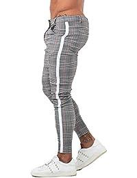 Mens Chinos Slim Fit Stretch Flat-Front Skinny Dress Pants Grey Plaid