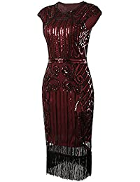 1920s Vintage Inspired Sequin Embellished Fringe Long Gatsby Flapper Dress