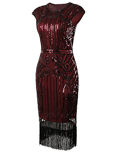 Vijiv 1920s Vintage Inspired Sequin Embellished Fringe Long Gatsby Flapper Dress,Wine Red,X-Large