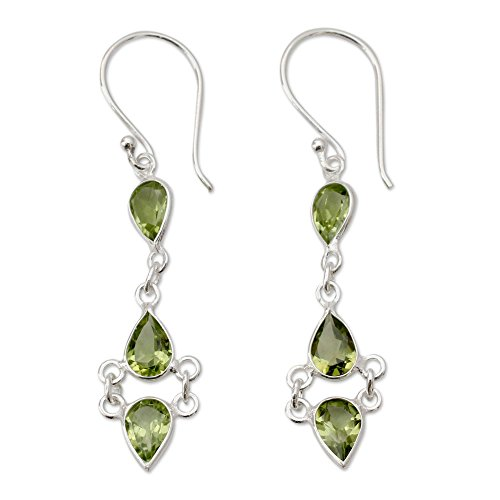 - NOVICA Peridot .925 Sterling Silver Dangle Earrings 'Mystic Wonder'