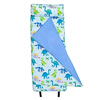 Wildkin Original Nap Mat with Pillow for Toddler Boys and Girls, Ideal for Daycare and Preschool, Measures 50 x 1.5 x 20 Inches, Mom's Choice Award Winner, BPA-Free, Olive Kids (Dinosaur Land)